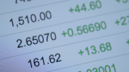 exibindo : Stock Prices on the Computer Screen Closeup Video Stock Footage