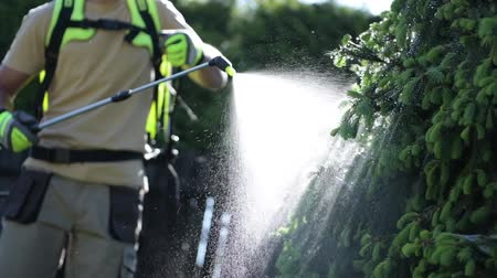ogrodnik : Gardener Fighting Insects in the Garden by Insecticide Whole Backyard Garden.