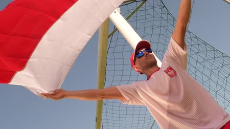 world cup : Fan with National Flag of Poland in Front of the Goal Stock Footage
