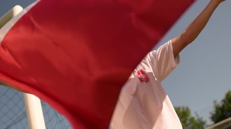 вратарь : National Flag of Poland in Hands of Polish Sports Fan in Slow Motion Стоковые видеозаписи