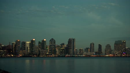 dark bay : November 12, 2017. Colorful City of San Diego Skyline and Waterfront at Night. San Diego, California, United States.