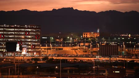 usa : Scenic Sunset in City of Las Vegas, Nevada, United States of America. November 9, 2017. Colorful Vegas Strip Panorama