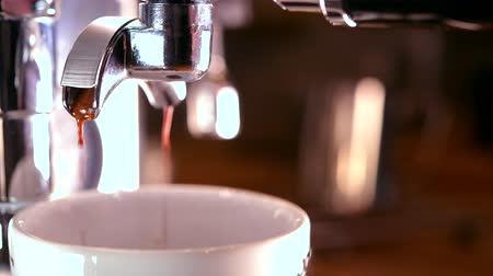 nakládané : Fresh and Tasty Espresso Brewing. Portafilter with Pouring Coffee Closeup Video