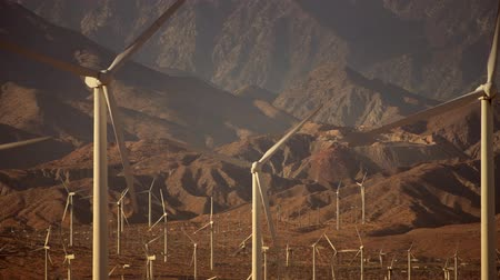 powerful : Wind Renewable Energy From Wind Turbines. Wind Energy Power Plant in California USA Stock Footage