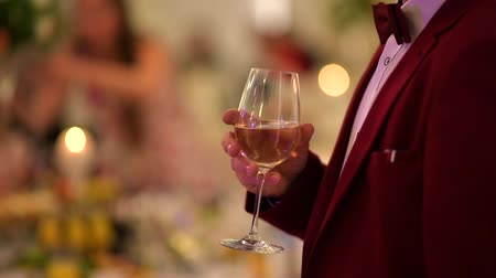 prestiž : Gentleman in Burgundy Tuxedo with Glass of White Wine in Hand. Party Theme. Dostupné videozáznamy
