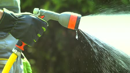 bahçıvan : Plants Watering. Water Spraying in the Garden. Slow Motion Stok Video
