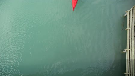 каноэ : Aerial View of Kayaker Paddling on Turquoise Glacial Lake