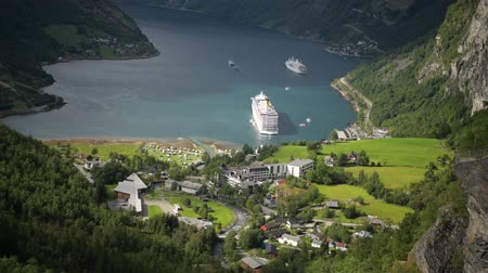 geiranger : Norwegian Top Destination. Village of Geiranger and the Geirangerfjor During Sunny Summer Day.