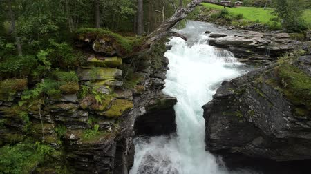 бросаясь : Rocky River Gorge Closeup. Rushing Water. Norway, Europe. Стоковые видеозаписи