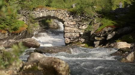 İskandinav : Scenic Scandinavian River and the Stone Bridge in Slow Motion