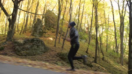 silvicultura : Healthy Lifestyle Theme. Caucasian Runner in His 30s. Autumn Foliage.
