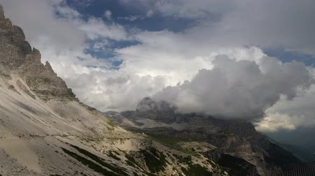 cime di lavaredo : Stormy Day in the Italian Dolomites. Alpine Region in the Summer Day. Stock Footage