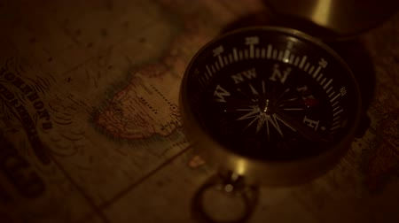 navigational : Vintage Map and the Old Compass Device Journey Concept.
