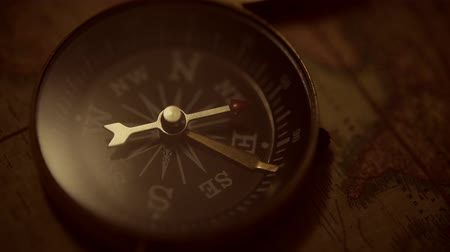 navigational : Aged Old World Map and the Old Compass Device. Expedition and Adventure Concept.