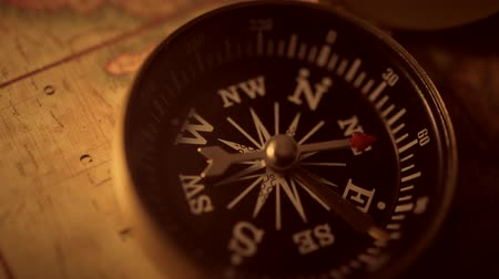 navigational : Vintage Map and the Old Compass Device Adventure Concept Video.