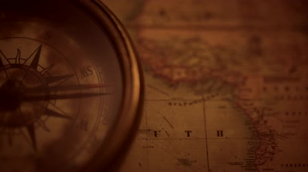 navigational : Adventure Concept Video with Vintage Map and the Old Compass Device.