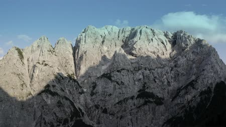 colocar : Front Window on Mount Prisojnik. The Julian Alps in Slovenia. Scenic Summer Vista. Aerial Footage