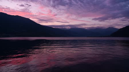maria : Scenic Summer Sunset at the Lake Como in Northern Italy. Lombardy Region. Time Lapse Video.