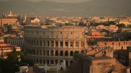 tiered : October 15, 2019. Rome, Italy. Monumental Three Tiered Roman Amphitheater Once Used for Gladiatorial Games and Animal Stunts. Stock Footage