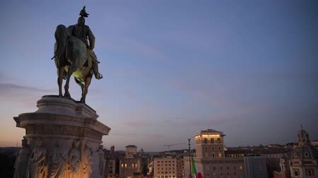 damasco : Equestrian Statue of Victor Emmanuel II by Enrico Chiaradia in the Rome, Italy.