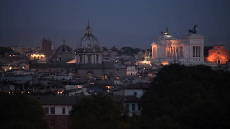 caesar : City of Rome Panorama at Night.  Famous Historic Buildings and the Cityscape.