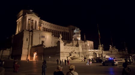 damasco : October 15, 2019. Rome, Italy. Altar of the Fatherland Piazza Venezia During Late Evening Hours. Vídeos