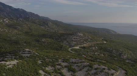 hırvat : Northern Croatia. Scenic Croatian Landscape. Adriatic Sea and the Coastal Mountains. Aerial Footage. Stok Video