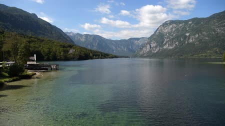 rv park : Scenic Lake Bohinj in the Slovenia. Fall Season at the Lake. Bohinj Valley of the Julian Alps. Upper Carniola Region, and Part of Triglav National Park.