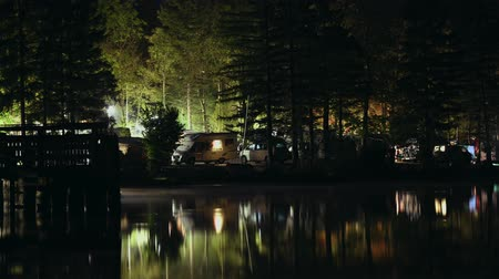 rving : Time Lapse Video of RV Park Camping and the Lake. Stock Footage