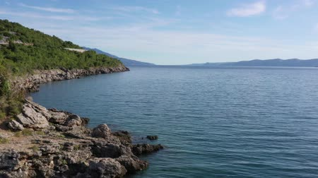 hırvat : Croatian Coastal. Turquoise Waters of the Mediterranean Sea. Aerial Footage Stok Video