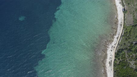 hırvat : Scenic Mediterranean Sea Coast. Croatian Adriatic Sea Scenery. Aerial Footage. Stok Video