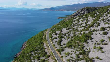 chorvatský : Aerial Footage of Croatian Scenic Coastal Highway and Turquoise Waters of the Mediterranean Sea