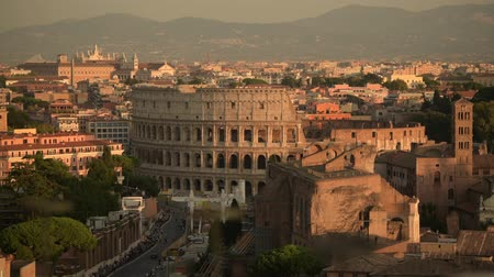 caesar : Popular European Destination. Rome, Italy and Colosseum Cityscape During Sunset. Italian Ancient Architecture.