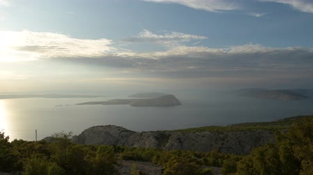 croatia : Adriatic Sea and Croatian Scenic Landscape During Sunset. Northwest Croatia. Stock Footage