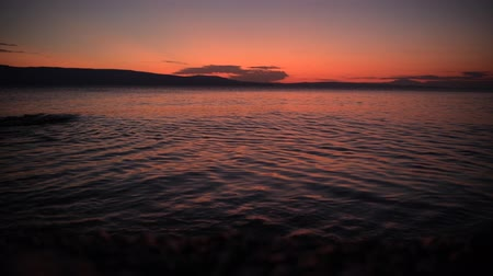 adriyatik : Scenic Rocky Coast Photo Background. Adriatic Sunset Scenery. Croatia, Europe. Stok Video