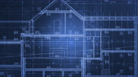 Home Project Blueprints in Motion. Blue Animated Architecture Industry Background. Vídeos
