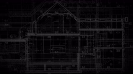 Architectural Animated Background Alpha Channel Black. House Project Blueprints in Motion.