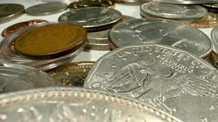 kolektor : Vintage American Coins Collection. Collectibles Coins Closeup.