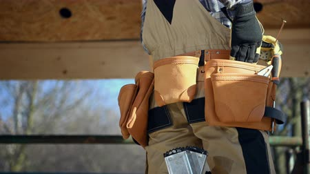 emek : Contractor Tools Belt Closeup. House Construction Theme.