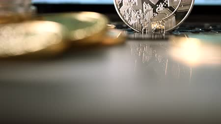waluta : Close Up Shot Of Virtual Currency Presented As Silver Coin.