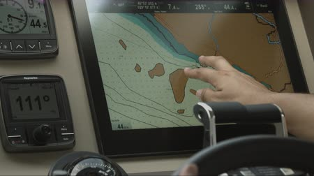 levee : control display in cockpit yacht Stock Footage