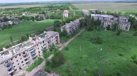 bombardment : Ukraine, the city of Peschanka, 09 18 16. ATO, war, destroyed homes in a war zone