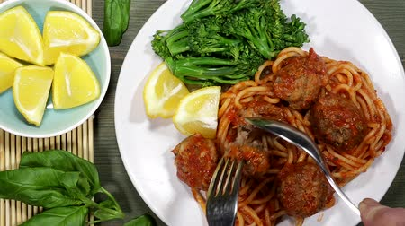 Spaghetti And Meatballs Stock Footage