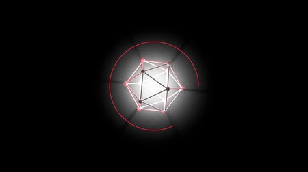 иконки : Circle loading bar. The three-dimensional lattice in the form of a polyhedron. Rays of light from the center. Video with separate alpha channel. Стоковые видеозаписи