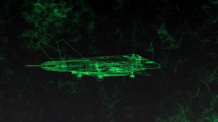avançar : Modern military combat aircraft rotates. Footage in ultra technological style of glowing green lines flying around polygons.