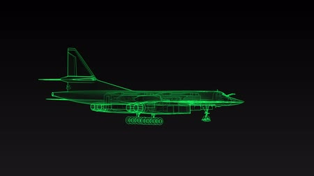 mecânica : Modern military combat aircraft rotates. Footage in ultra technological style of glowing green lines. Stock Footage