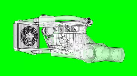 pinion : Turbocharged four-cylinder, high-performance engine for a sports car. The model rotates around the central axis. Cyclic animation on a green background.