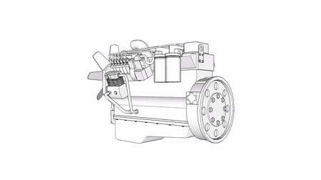 pinion : Diesel V8 engine for a big car. The model rotates around the central axis. Cyclic animation on a white background. Stock Footage