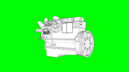 лошадиная сила : Diesel V8 engine for a big car. The model rotates around the central axis. Cyclic animation on a green background.
