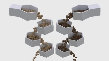 fazla : Small balls appear and roll down from the bottom of the bowl to the other, and then fall into the void. Stok Video